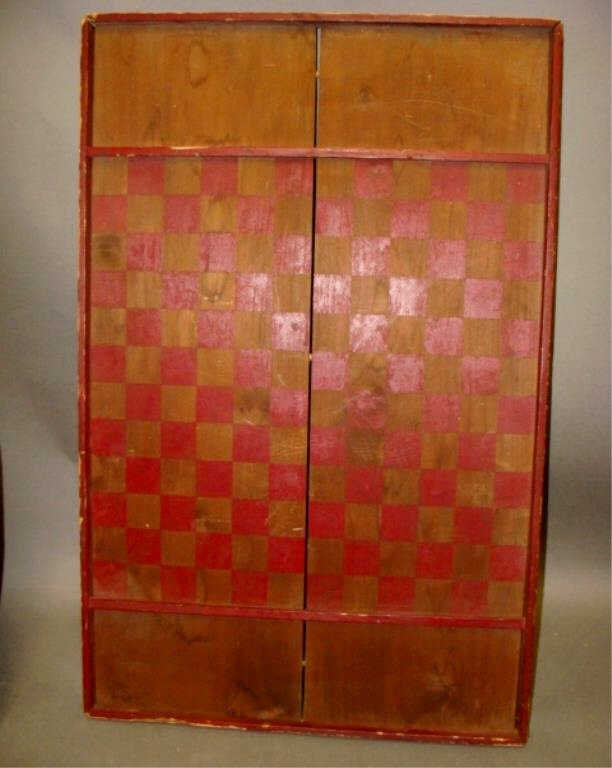 19th C Red Paint Game Board