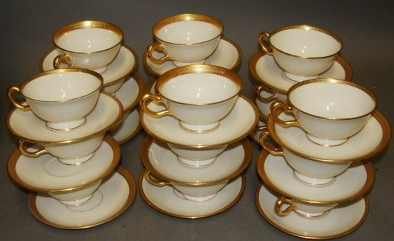 Set of 18 Tiffany for Lenox Cups and Saucers