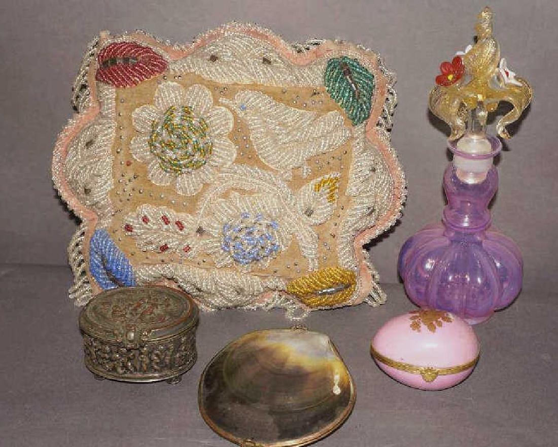 Victorian Beaded Indian Pillow,Vanity Lot