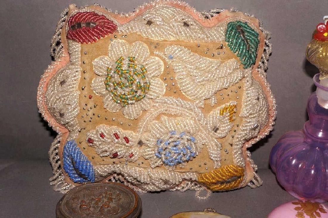 Victorian Beaded Indian Pillow,Vanity Lot - 3