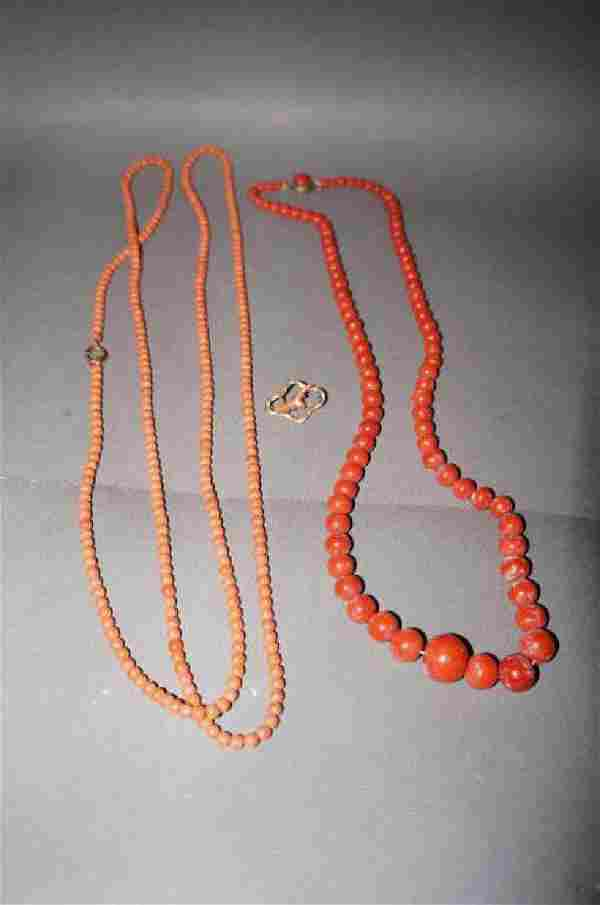 Coral Bead Necklaces and Pin