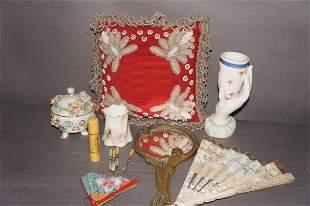 Victorian Beaded Indian Pillow Vanity Lot