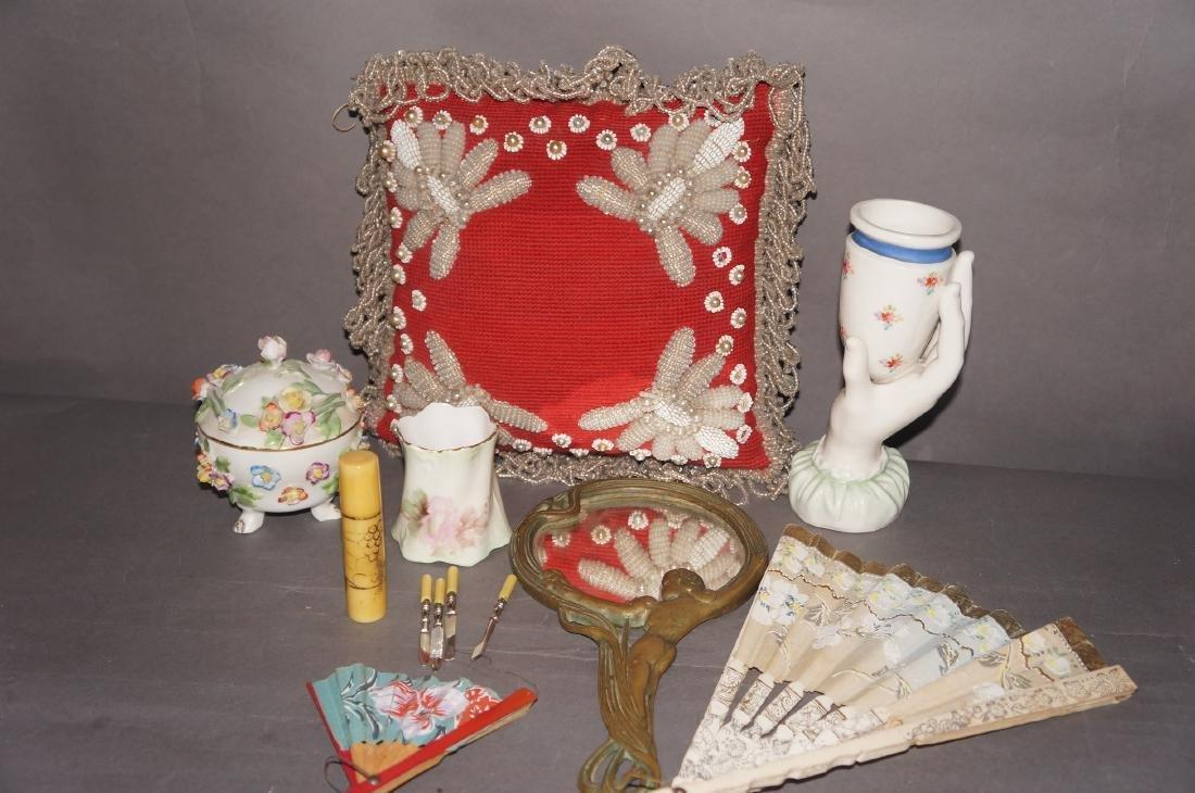 Victorian Beaded Indian Pillow, Vanity Lot