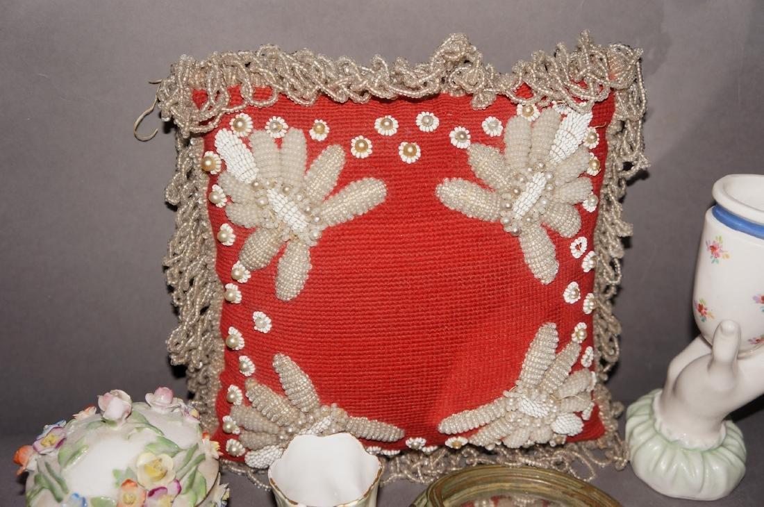 Victorian Beaded Indian Pillow, Vanity Lot - 4