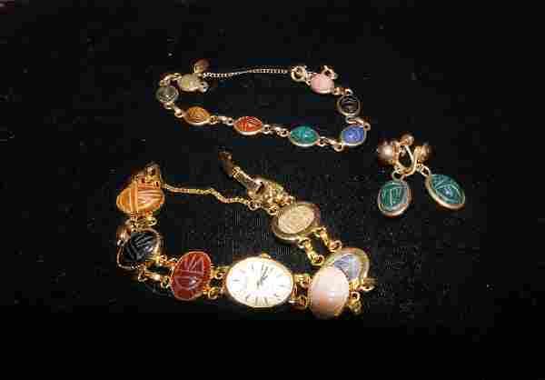 Vintage Scarab Stone Jewelry Lot