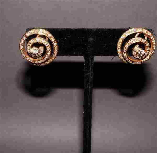 4kt Yellow Gold and Diamond Earrings