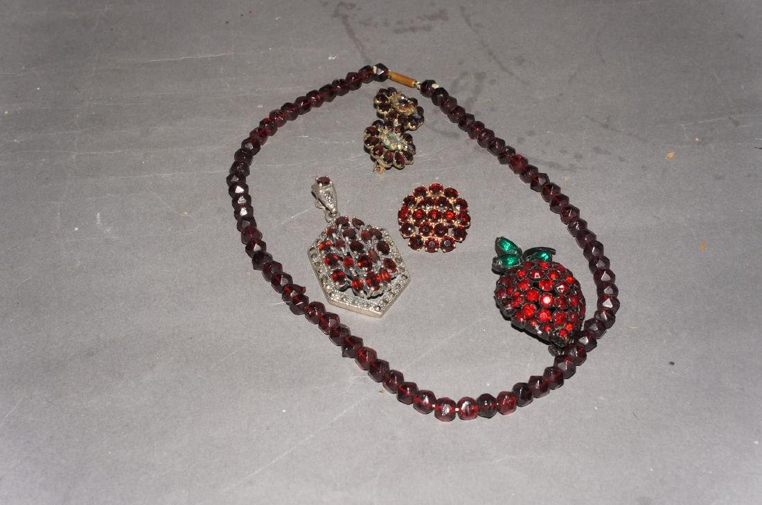 Vintage Garnet Jewelry Grouping