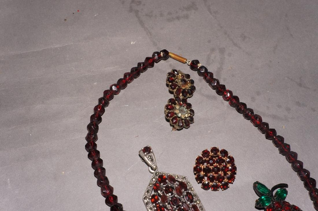 Vintage Garnet Jewelry Grouping - 3