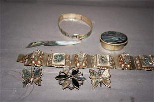 Vintage Sterling and Abalone Jewelry Lot