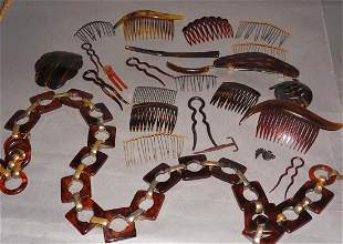 Vintage Celluloid Hair comb and Belt Group