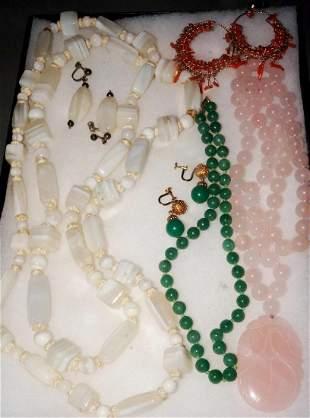 Vintage Jewelry Lot Coral Earrings