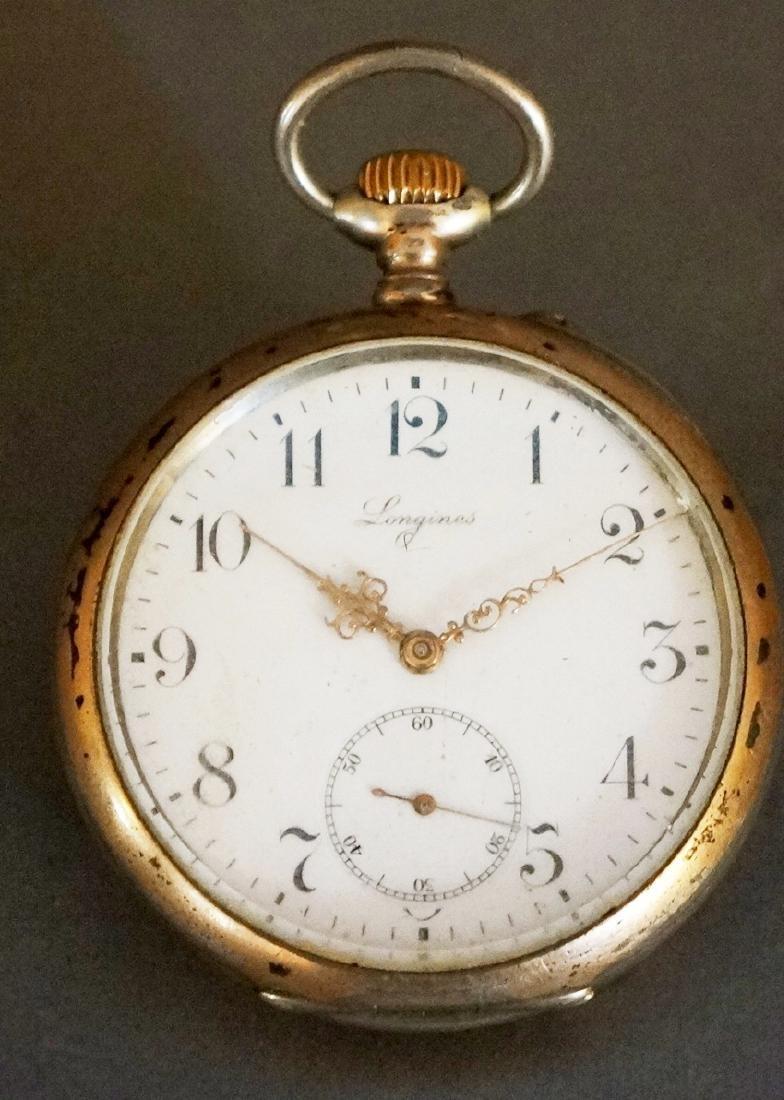 Vintage Men's 800  Silver Longines  Pocket Watch