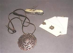Vintage Celluloid Calendar Aztec Sterling Pendant