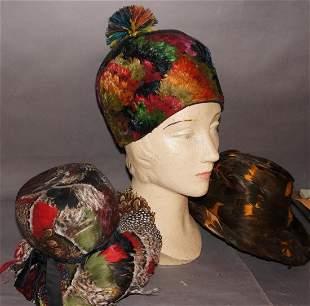 Group of Vintage Pheasant Hats