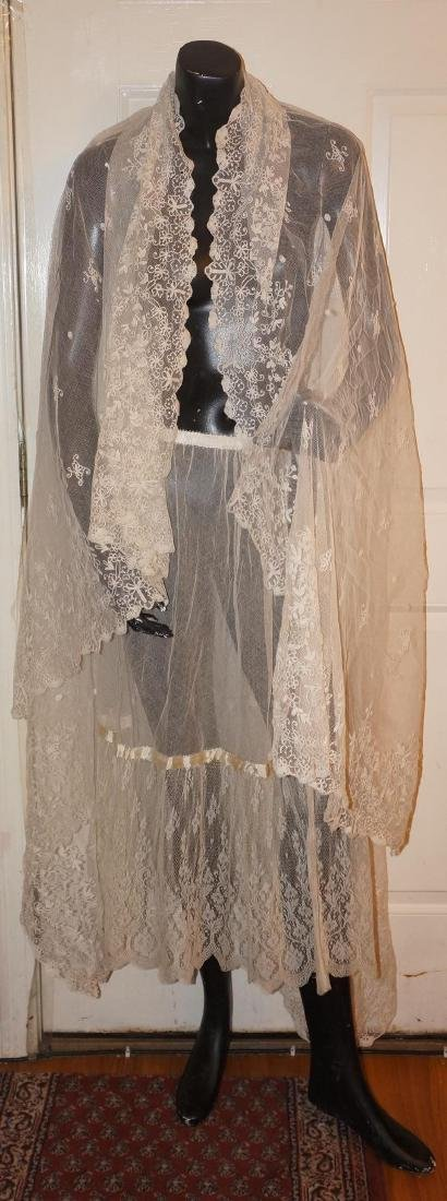 Antique Net and Lace Shawl & Skirt