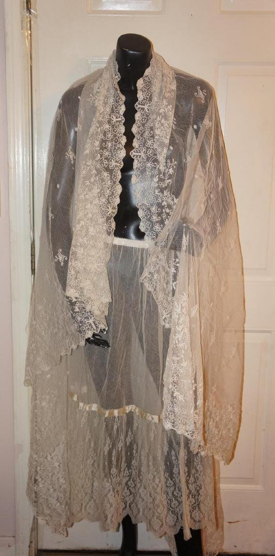 Antique Net and Lace Shawl & Skirt - 9