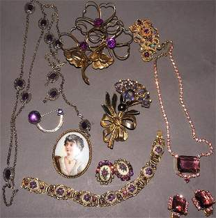 Vintage Jewelry Grouping Portrait Brooch