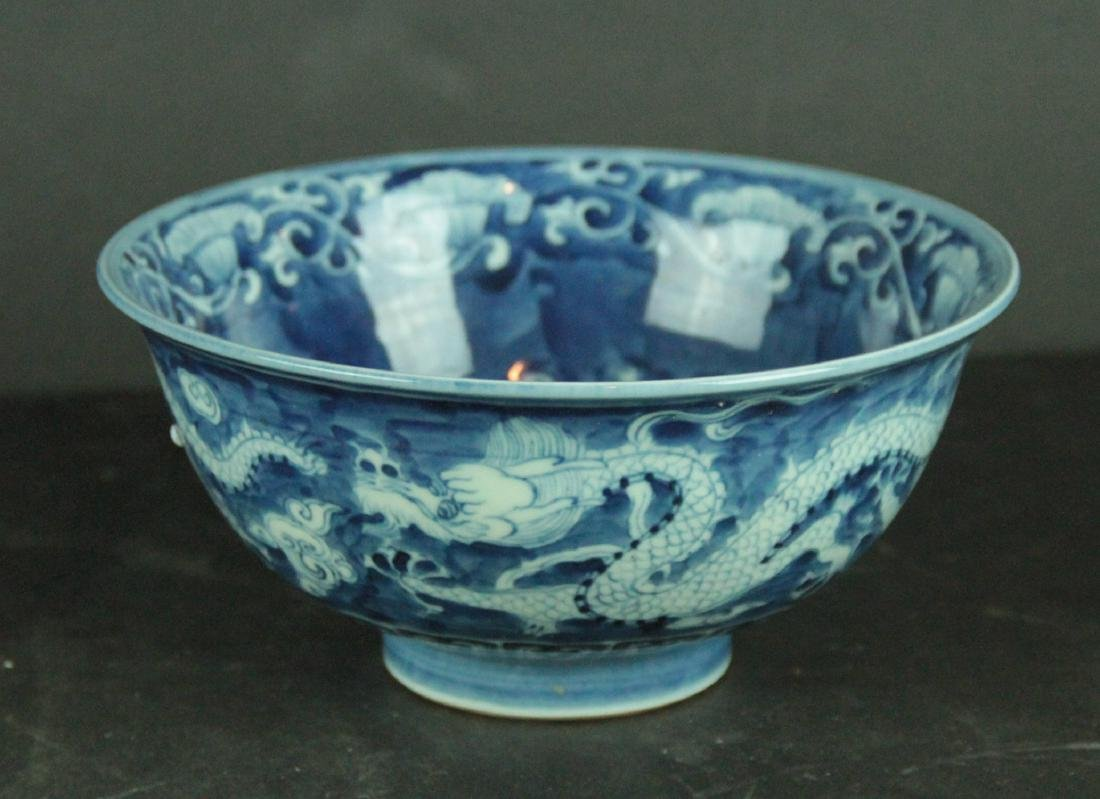 Blue and White Porcelain Dragon Bowl