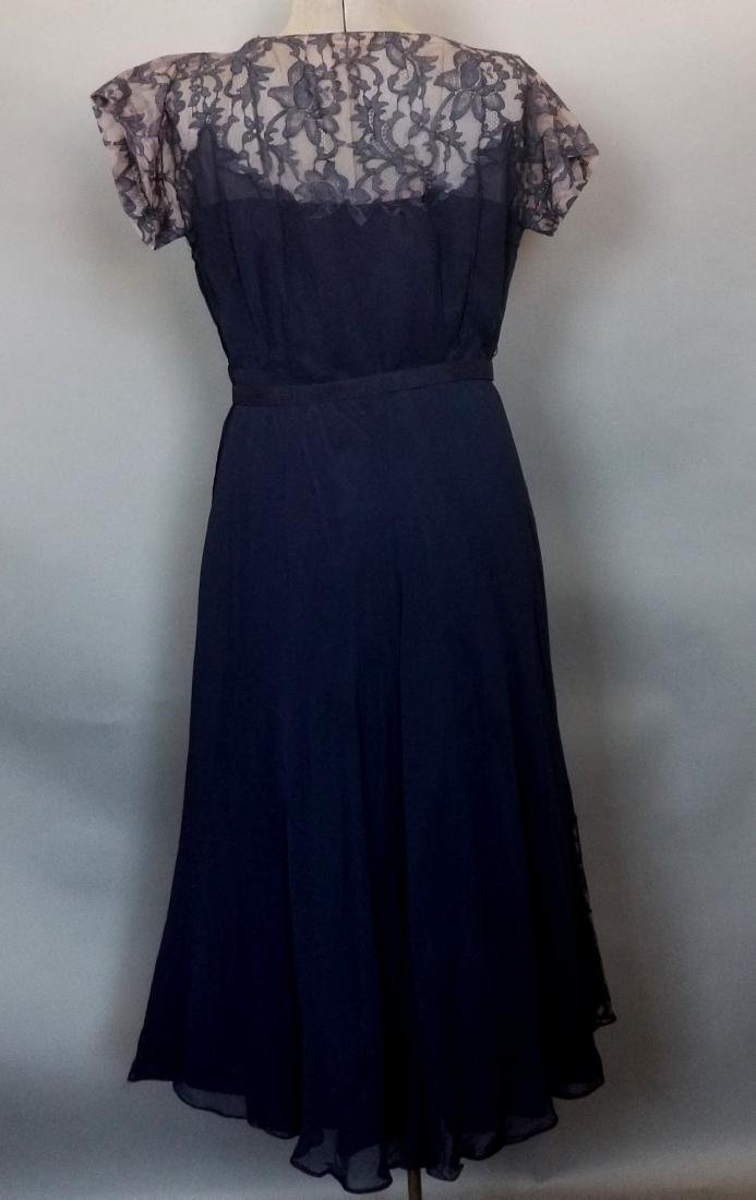 Vintage Navy Cocktail Dress - 5