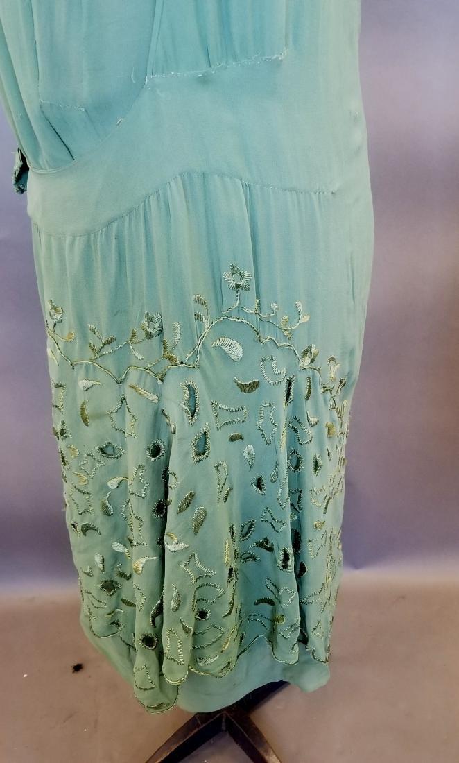 Silk Green Dress - 5