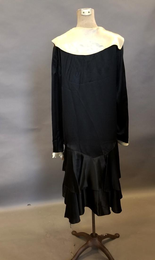 Black and White Silk Dress - 4