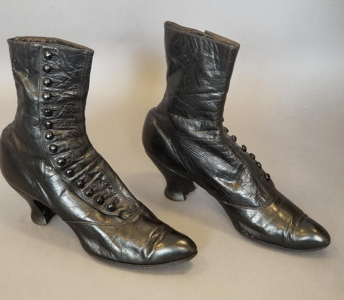 Black High Button Shoes - 2