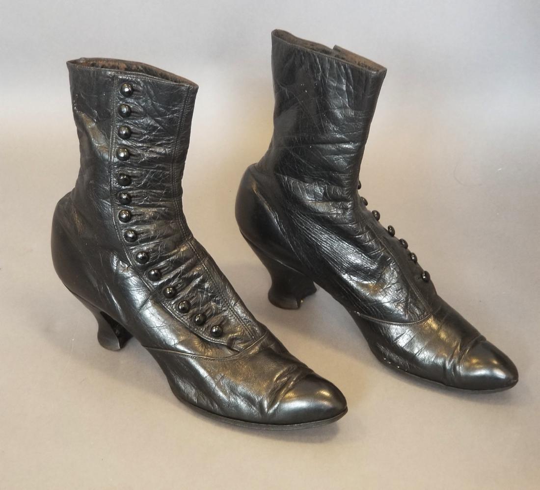 Black High Button Shoes - 3