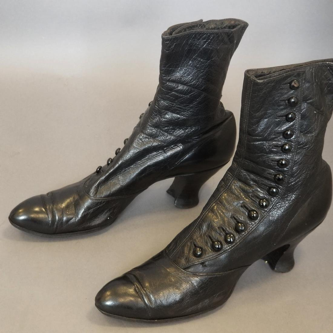 Black High Button Shoes - 4