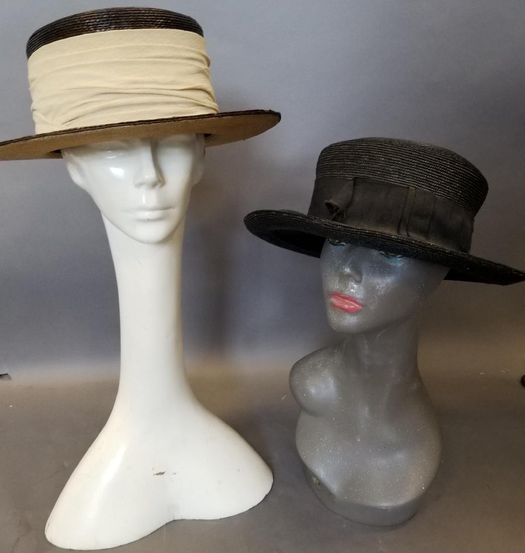 Two Wide Brim Straw Hats