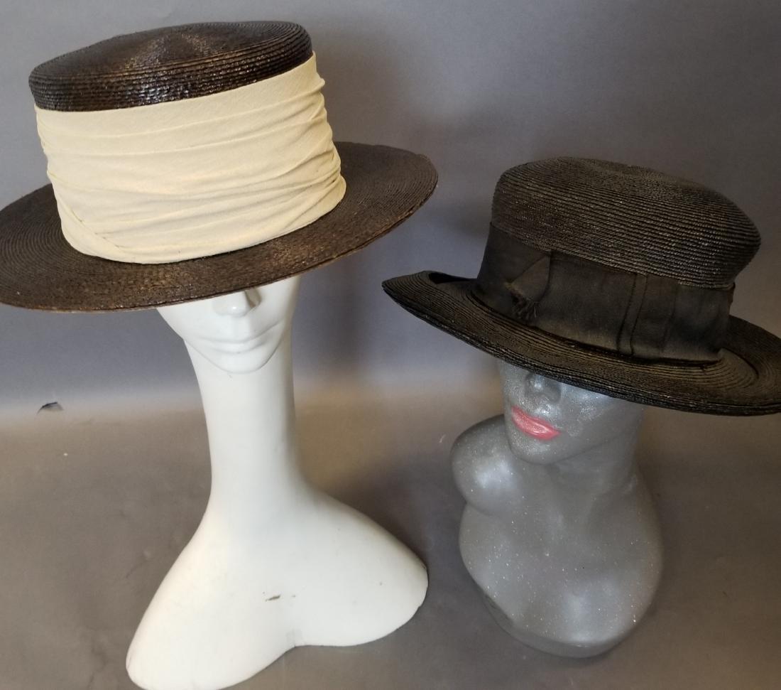 Two Wide Brim Straw Hats - 3
