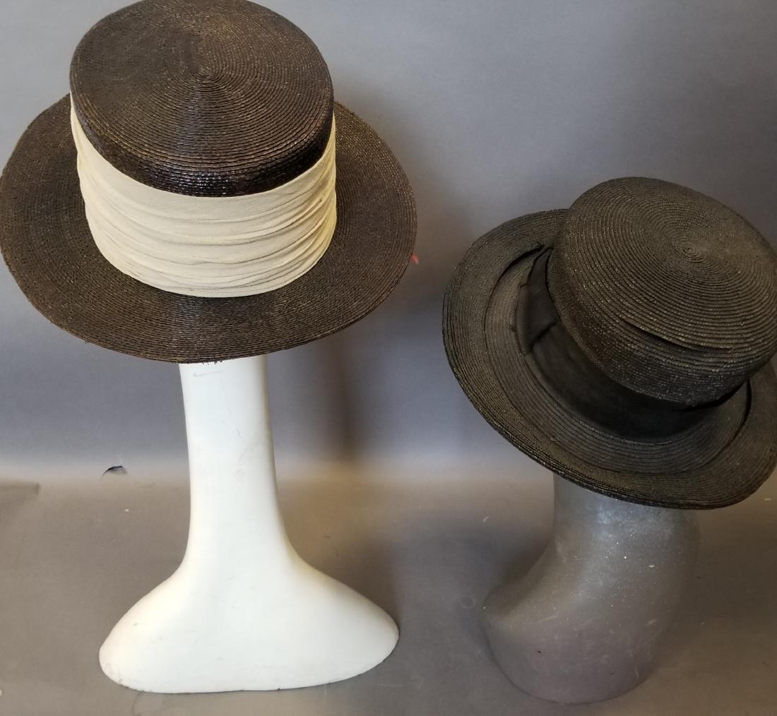 Two Wide Brim Straw Hats - 4