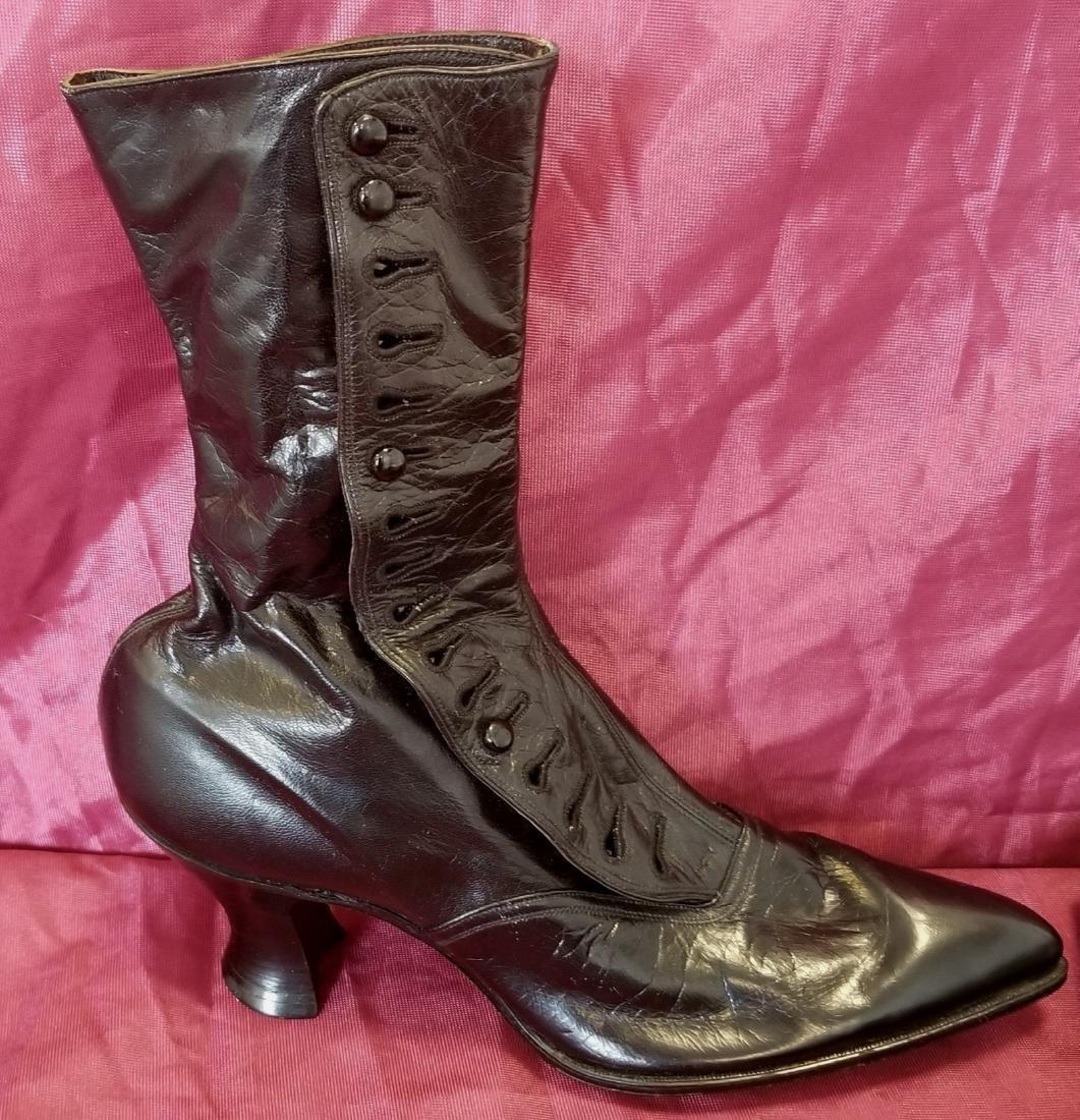 Black High Button High -Top Shoes - 4
