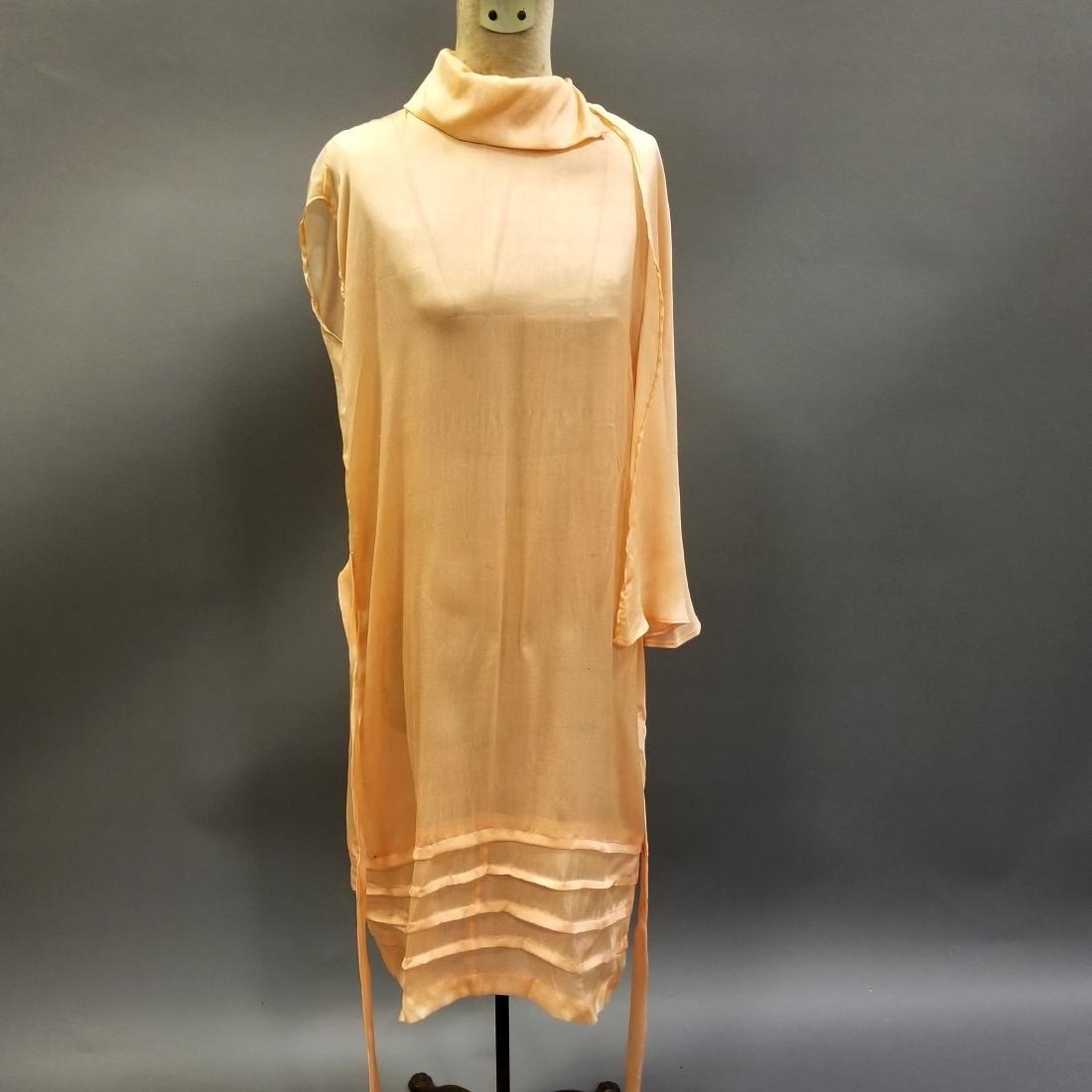 Youthful Peach Silk Dress