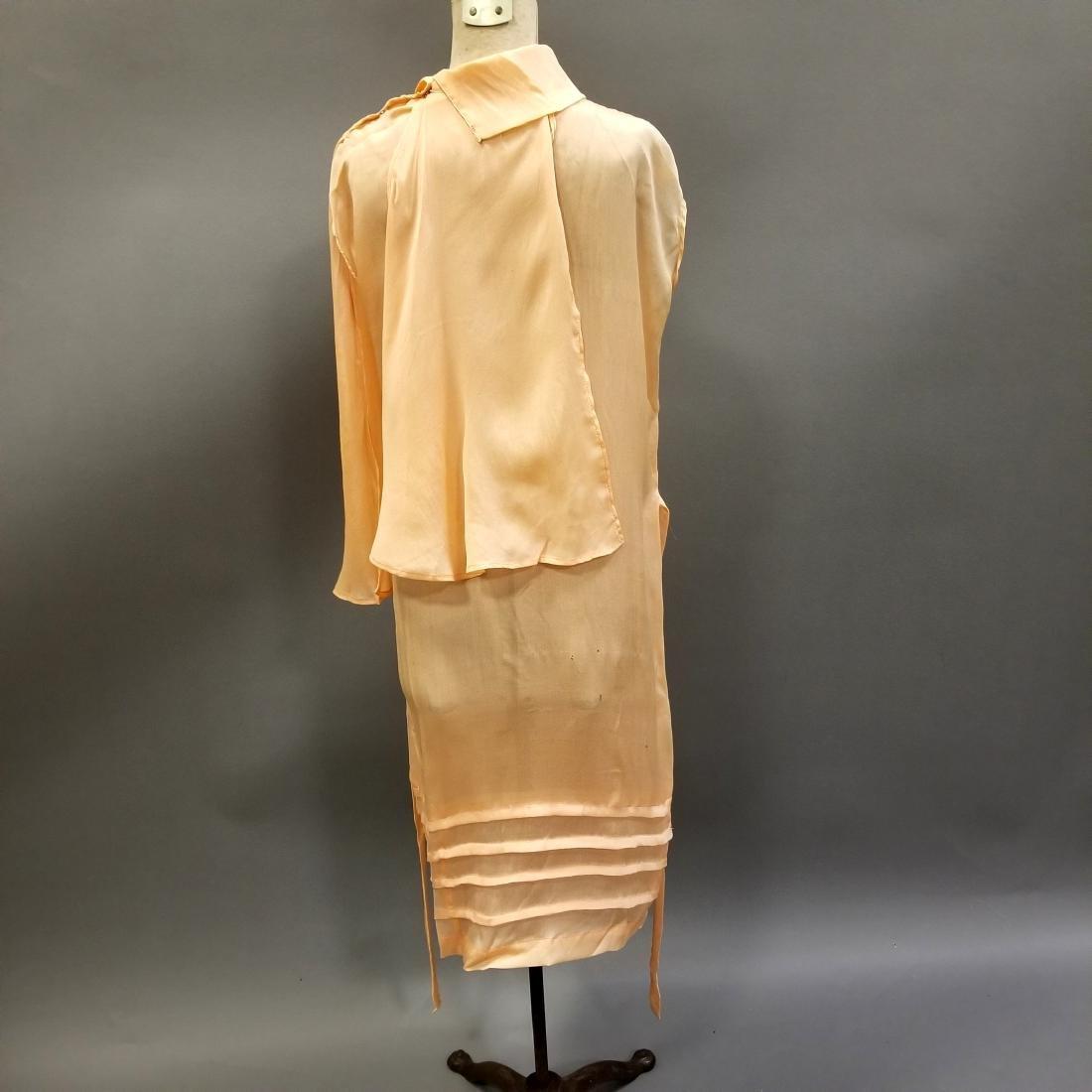 Youthful Peach Silk Dress - 2