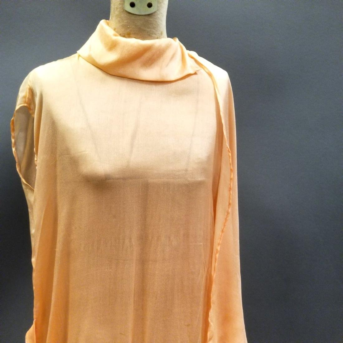 Youthful Peach Silk Dress - 3