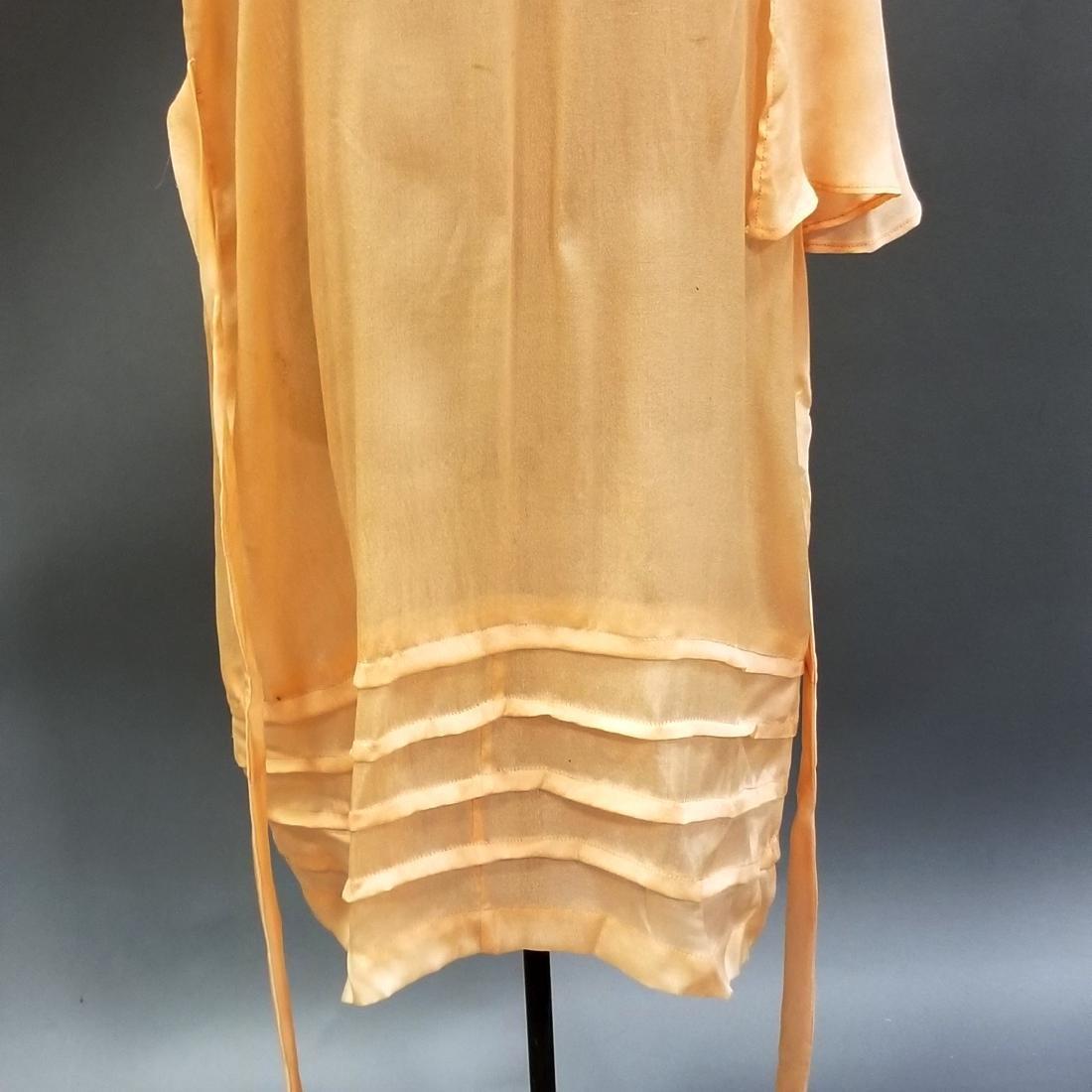 Youthful Peach Silk Dress - 4