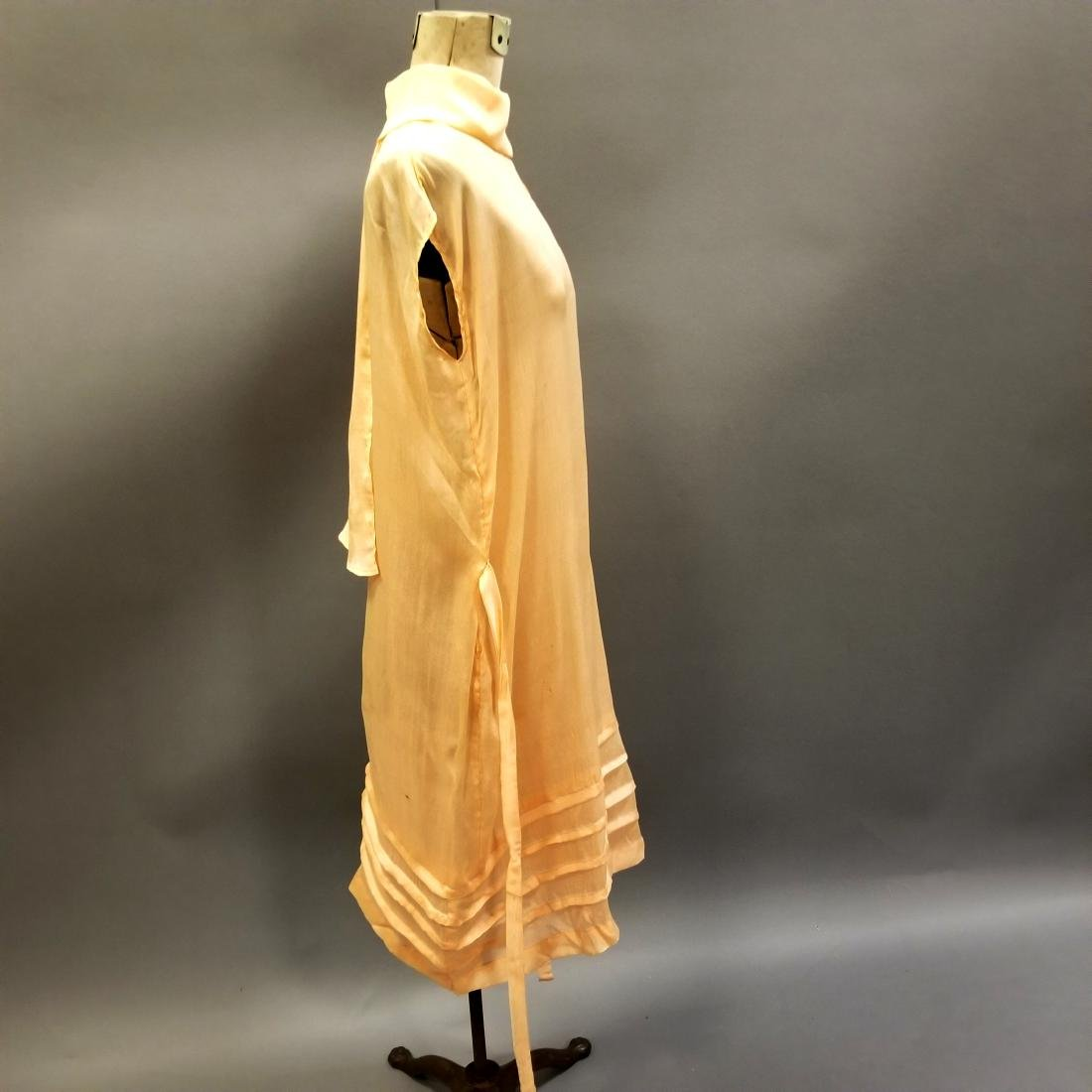 Youthful Peach Silk Dress - 5