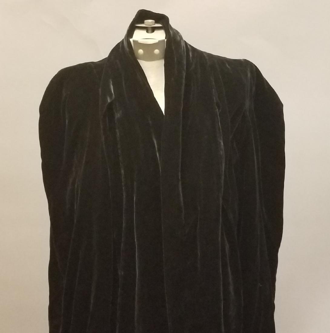 Black Velvet Evening Coat - 2