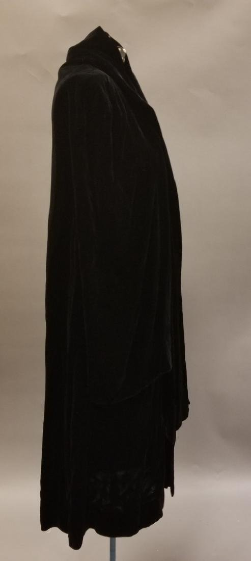 Black Velvet Evening Coat - 3