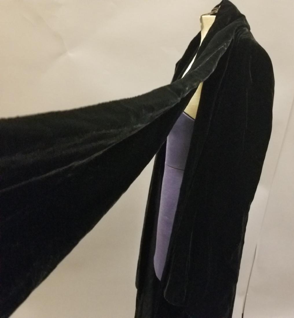 Black Velvet Evening Coat - 5