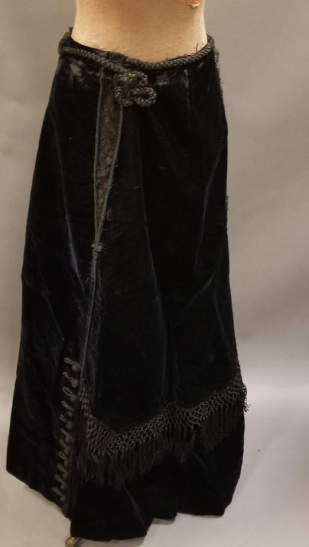 Black Velvet Skirt with Fringe