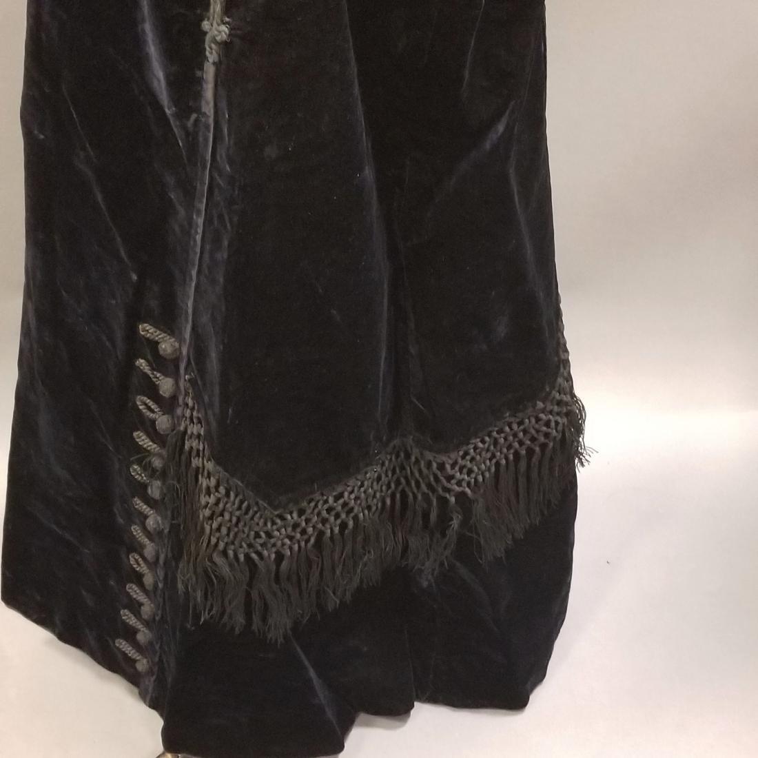 Black Velvet Skirt with Fringe - 3