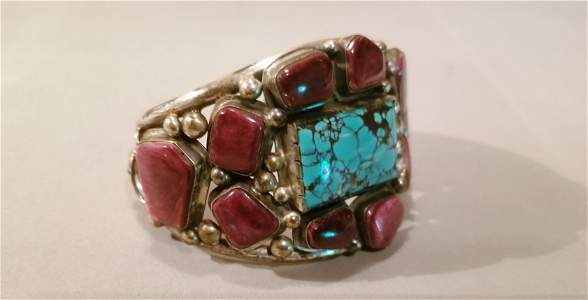 American Indian Turquoise & Sterling Cuff Bracelet