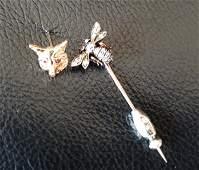 Two 14kt Gold   Diamond  Ruby Stick Pins