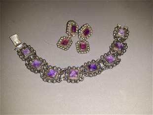 Mexican Sterling and Amethyst Parure Set