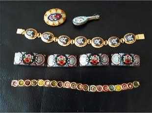 Grouping of Micro Mosaic Bracelets Pins