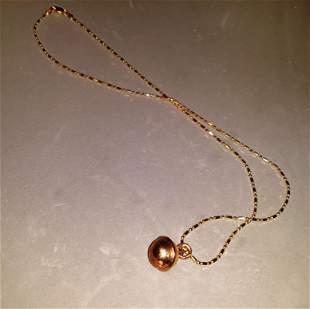 14kt Gold Chain Round Ball Pendant