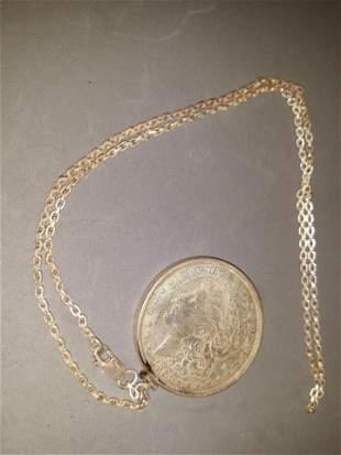 Morgan Silver Dollar Pendant Chain