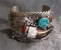 Navajo Indian Sterling Stone Cuff Bracelet