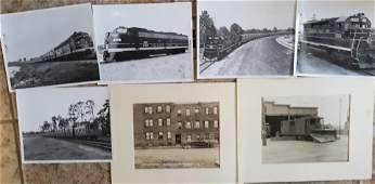 Group of Black & White Antique Train Photos 8x10